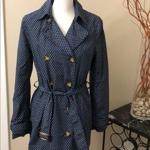 J McLaughlin Blue Pattered Double Breasted Trench